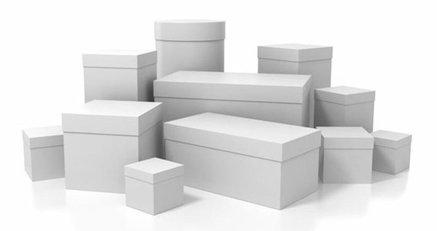 scatole in cartone bianco